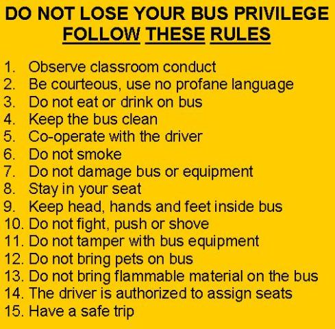Bus Rules Numbers 1 15 School Bus Parts For Sale A